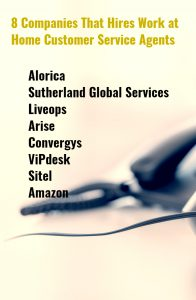 8 Companies that hires Work at Home Customer Service Agents-Pinterest